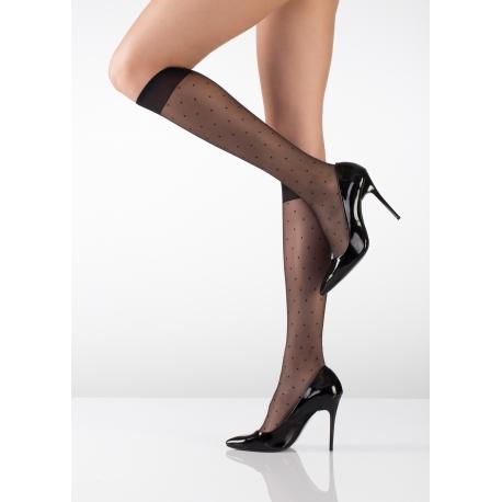 Nokta Desenli Dizaltı Çorap